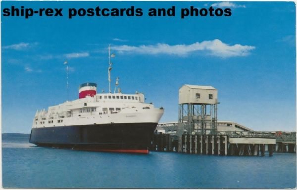 BLUENOSE (1956a, Canadian National) at Bar Harbor, postcard (b)